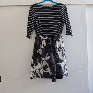 Pattern mixed black and white dress with pockets